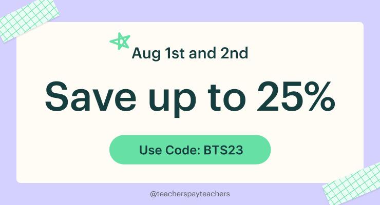 Teachers Pay Teachers Sale - February 26th and 27th, 2019
